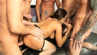 Streaming porn video still #5 from LeWood Gangbang: Battle Of The MILFs
